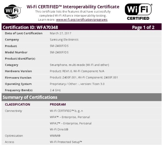 Смартфон Samsung Z4 с ОС Tizen 3.0 прошел сертификацию Wi-Fi Alliance