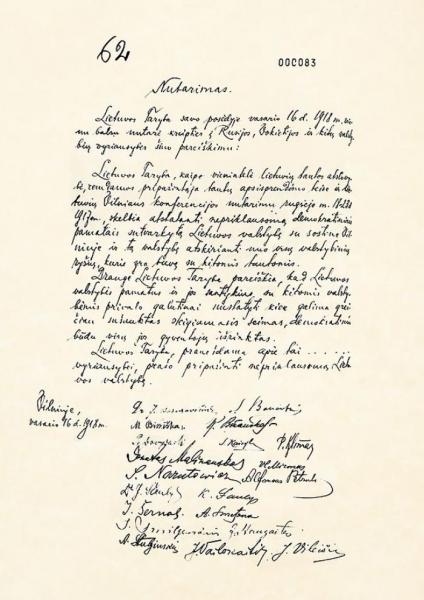 Акт о независимости Литвы, 1918 год, Вильнюс