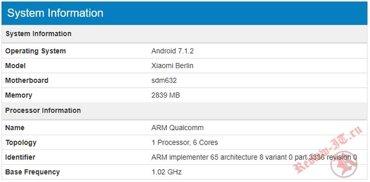На сайте бенчмарка появилась информация о новом смартфоне Xiaomi Berlin