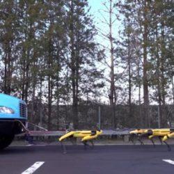 Компания Boston Dynamics показала, сколько роботов SpotMini нужно для того, чтобы сдвинуть грузовик с места