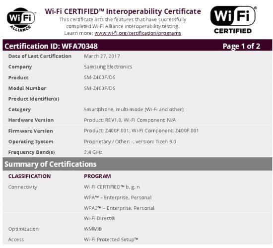Смартфон Samsung Z4 с ОС Tizen 3.0 прошел сертификацию Wi-Fi Alliance
