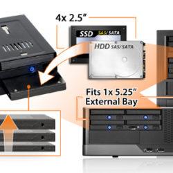 Icy Dock flexiDOCK MB524SP-B позволяет установить в отсеке типоразмера 5,25 дюйма четыре накопителя с возможностью горячей замены