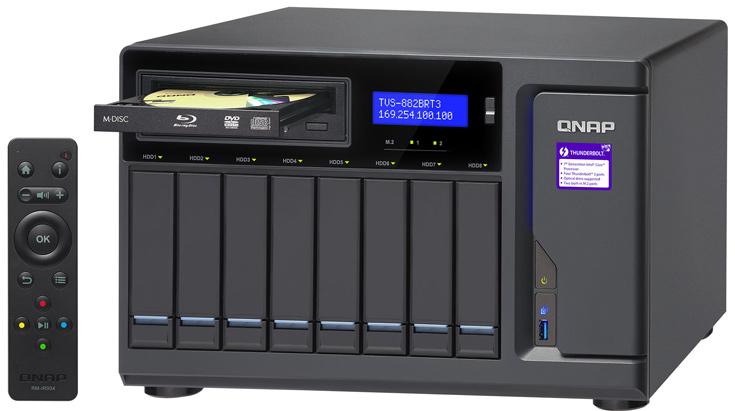 Хранилища с сетевым подключением QNAP TVS-882BR могут быть оснащены приводами Blu-ray