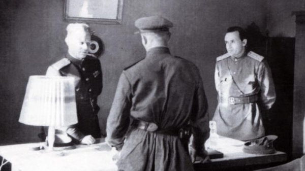 Гайдуков, Королёв, Глушко в «Нордхаузене», 1946 год, Германия