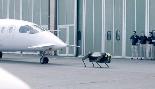 Четвероногий робот HyQReal сдвинул с места трехтонный пассажирский самолет