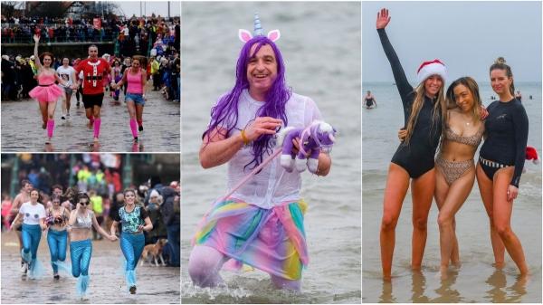 Отважные пловцы окунулись в ледяные воды по всей Британии в День подарков